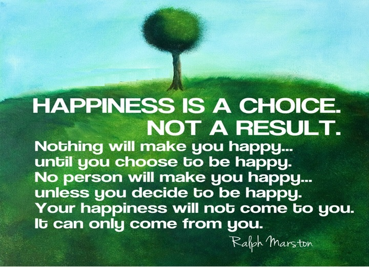 Happiness is a choice, not a result. Nothing will make you happy until you choose to be happy. No person will make you happy unless you decide to be happy. Your happiness will not come to you. It can only come from you